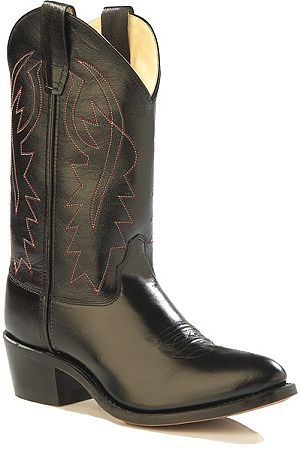 Jama Kids Black Leather Cowboy Boots