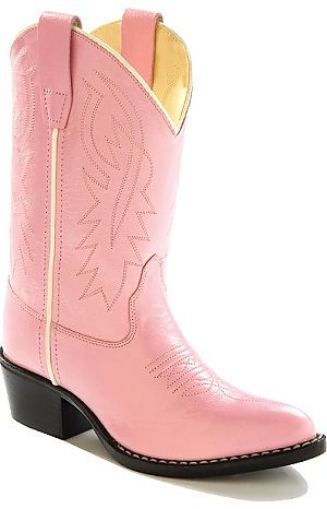 Kids Leather Cowboy Boots Pink