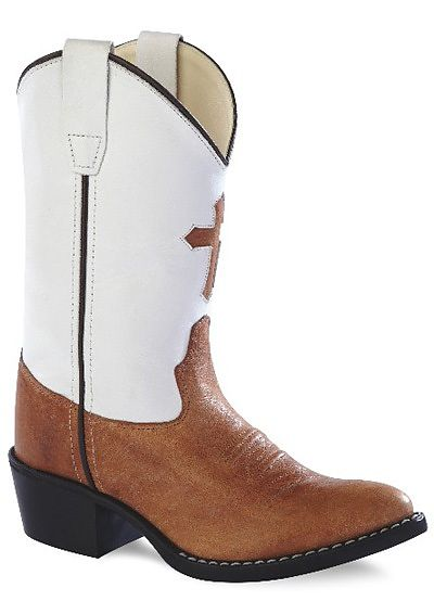 Jama Kids Leather Western Boots with Cross Inlay