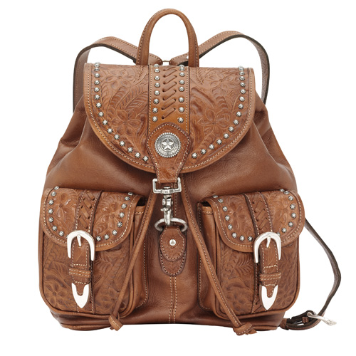 American West Large Brown Drawstring Backpack with Front Pockets