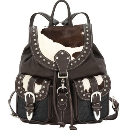 American West Large Brown/White Cowhide Backpack