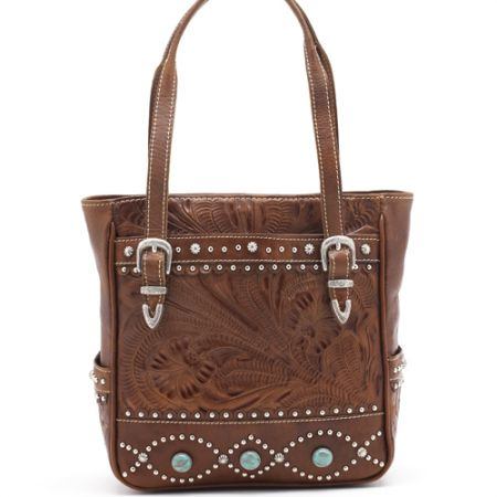 American West Turquoise/Antique Brown Everyday Cowgirl Tote