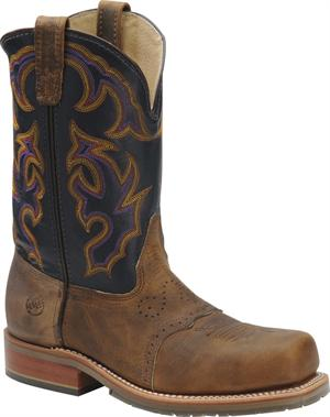 "11"" Men's Wide Square Steel Toe Roper Distressed with Navy Upper"