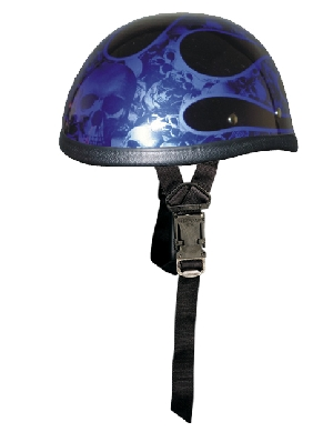 Blue Flame Multi Skull Novelty Helmet