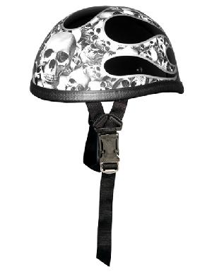 Silver Flame Multi Skull Novelty Helmet