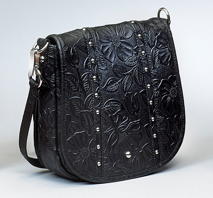 GTM/BLK-16 Simple Bling Tooled Leather