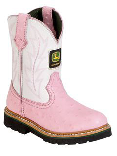 Kids John Deere Boots White and Pink Ostrich print