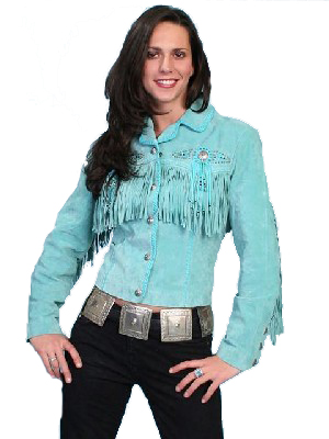Scully Leather Coat Fawn Turquoise