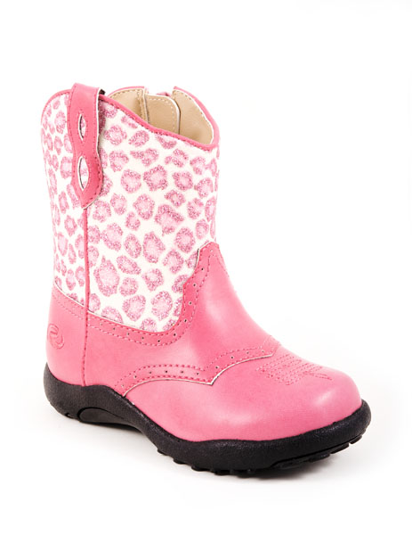 KIDS LEOPARD GLITTER PRINT FASHION BOOT PINK