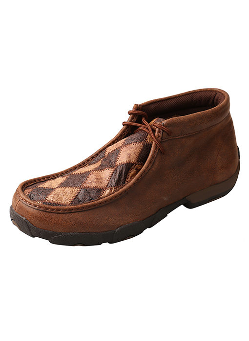 Men's Driving Moccasins – Oiled Saddle Ostrich/Bomber Ostrich