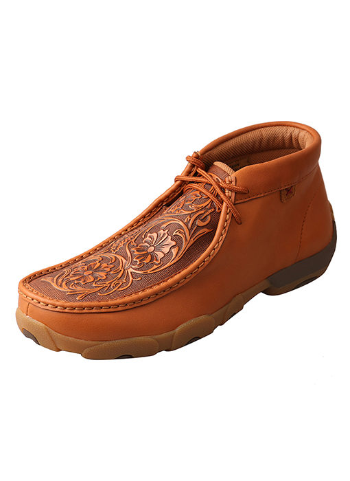 Men's Driving Moccasins – Tan/Tooled Flowers
