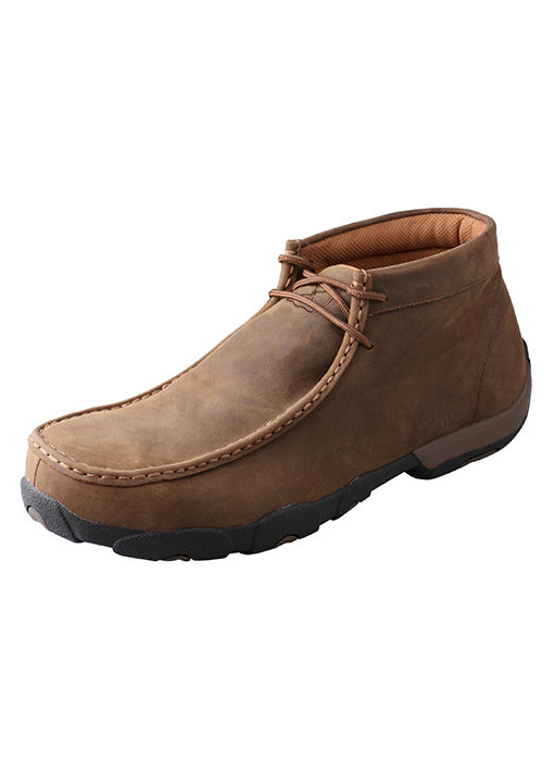 Mens Twisted X Boots Driving Moc Distressed Saddle Steel Toe
