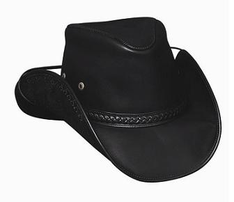 Melbourne Leather Hat in Black