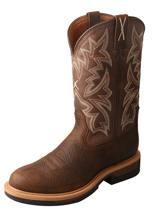Men's Lite Cowboy Workboot – Taupe/Brown – Alloy Toe