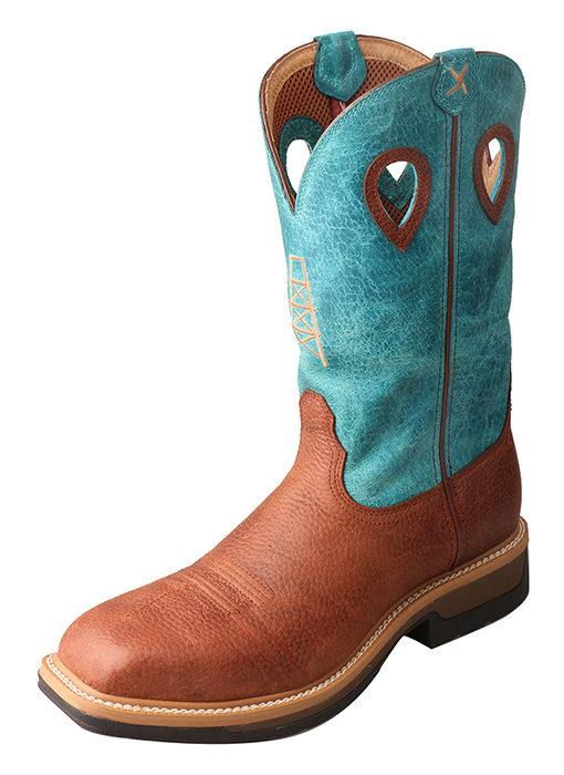 Men's Lite Cowboy Workboot – Brown/Turquoise – Alloy Toe