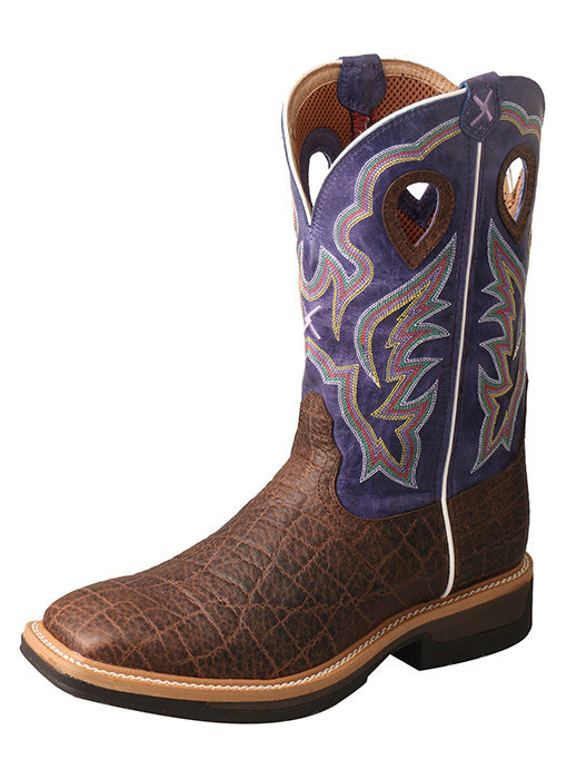 Men's Lite Cowboy Workboot – Brown Elephant Print/Purple – Alloy Toe
