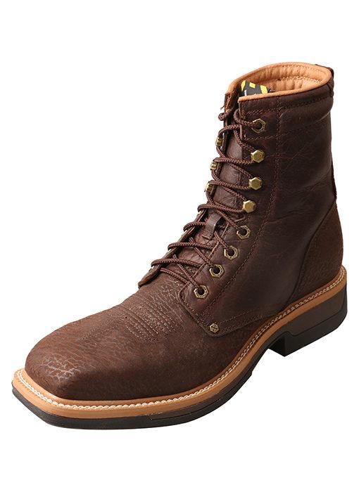 Men's Lite Cowboy Lacer Workboot – Brown – Alloy Toe