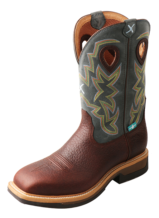 Men's Alloy Toe Lite Western Work Boot – WP Oiled Cognac/Blue