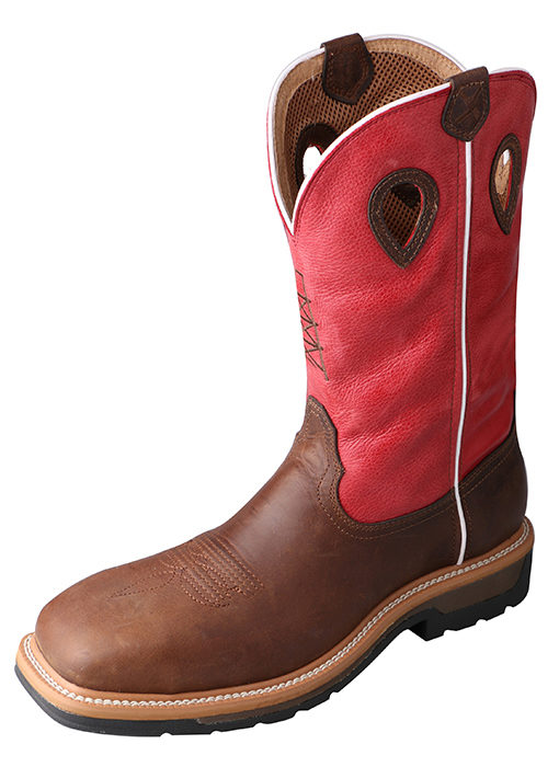 Men's Lite Cowboy Workboot – Distressed Latigo/Red – Composite Toe|Waterproof