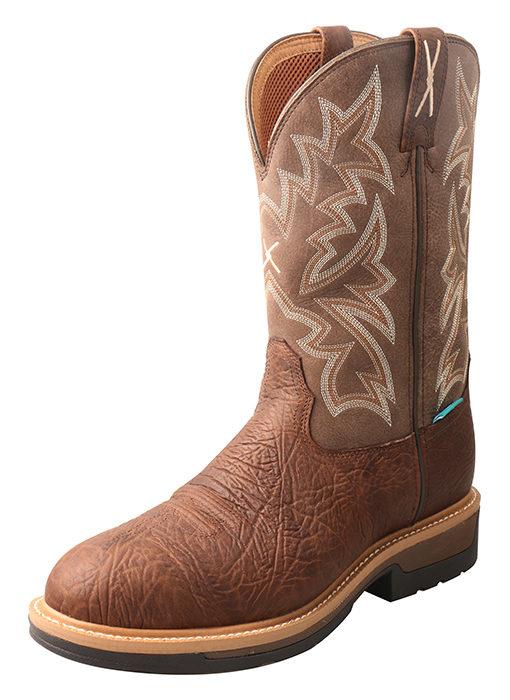 Men's Lite Cowboy Work Pull On B Toe – Distressed Grain/Brown