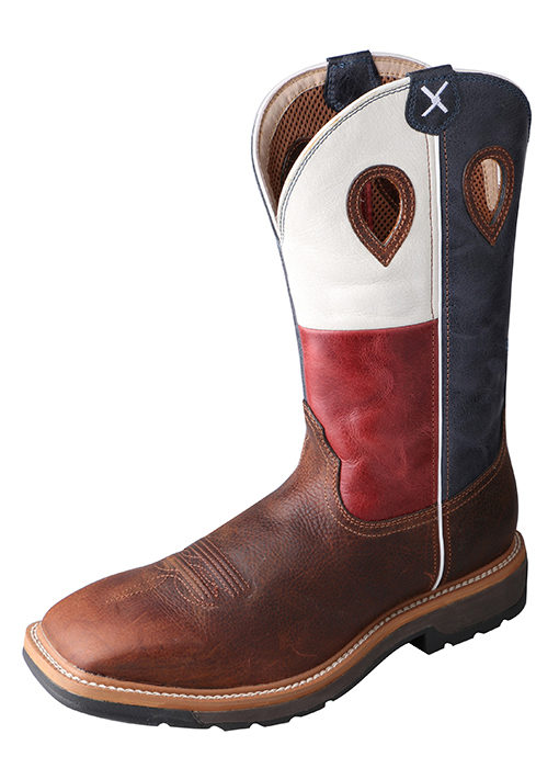 Men's Steel Toe Lite Western Work Boot Brown/Texas Flag