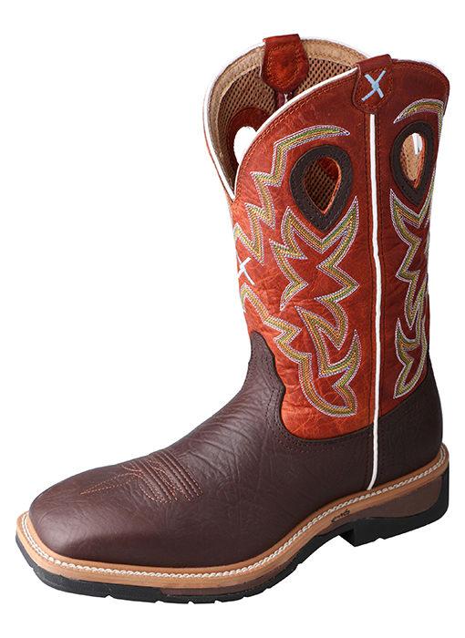 Men's Steel Toe Lite Western Work Boot Brown Oilded Shoulder/Orange