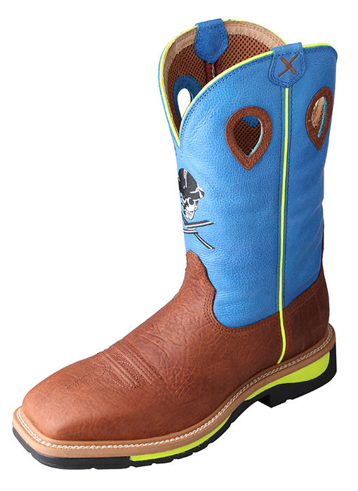Men's Steel Toe Lite Western Work Boot Brown Oiled Shoulder/Neon Blue