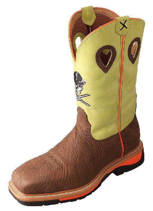 Men's Lite Cowboy Workboot – Crazy Horse Shoulder/Neon Yellow – Steel Toe