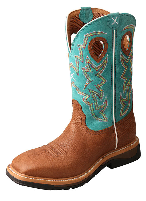 Men's Lite Cowboy Workboot – Cognac Bull Hide/Turquoise – Steel Toe