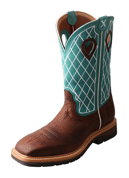 Men's Lite Cowboy Workboot – Brown Distressed/Turquoise – Steel Toe