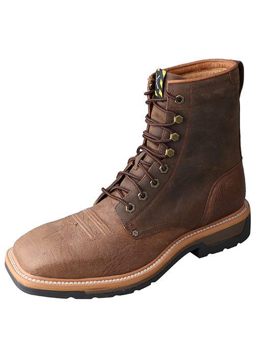 Men's Lite Cowboy Lacer Workboot – Distressed Saddle/Distressed – Steel Toe