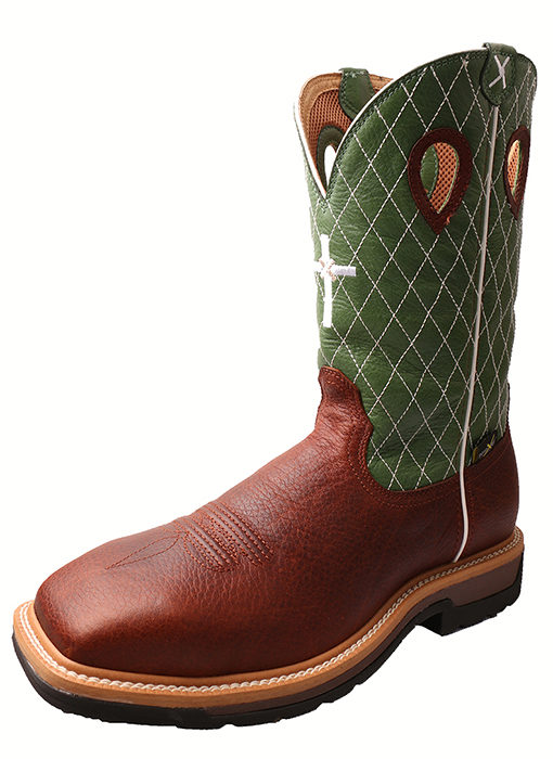 Men's Lite Cowboy Workboot – Cognac Glazed Pebble/Lime – MET Guard|Steel Toe