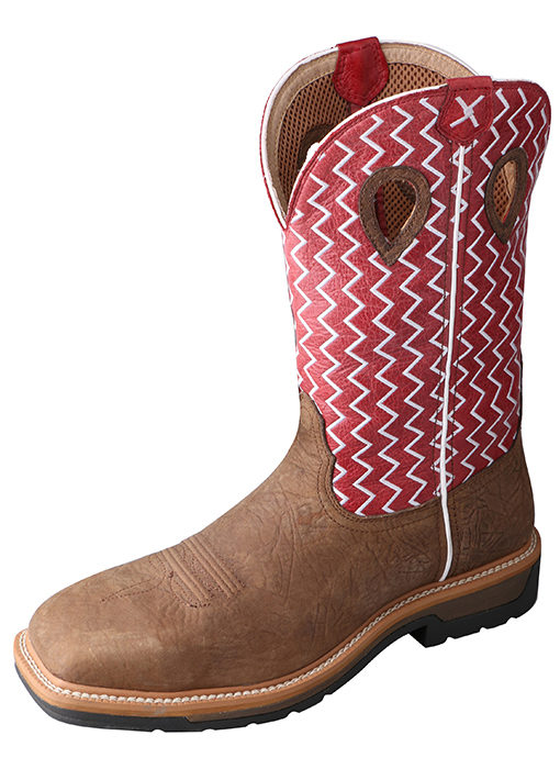 Mens Lite Weight Twisted X Work Boots in Distressed Saddle/Cherry