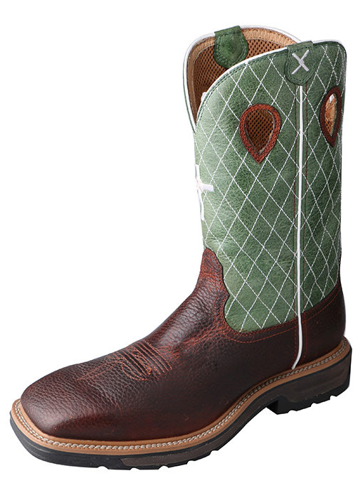 Men's Steel Toe Lite Western Work Boot Cognac Glazed Pebble/Lime – Steel Toe