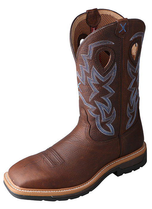 Mens Lite Weight Twisted X Boots in Brown Pebble