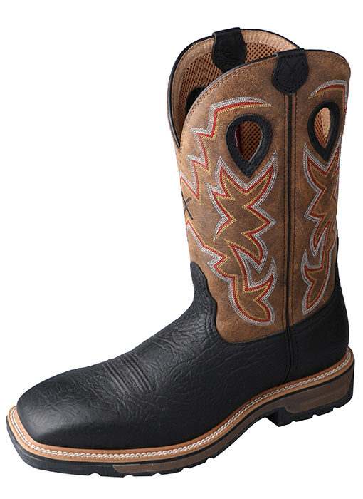 Mens Steel Toe Black/Distressed Lite Weight Twisted X Cowboy Work Boots