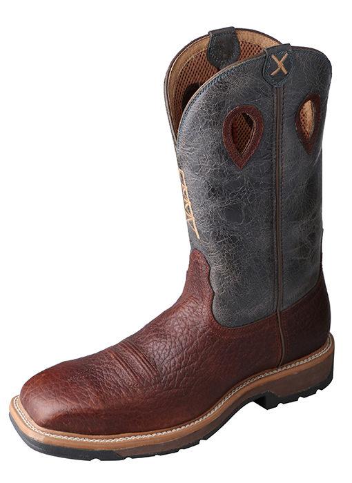 Men's Lite Cowboy Workboot – Cognac/Blue – Steel Toe