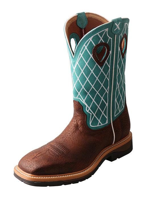 Men's Lite Cowboy Workboot – Brown Distressed/Turquoise