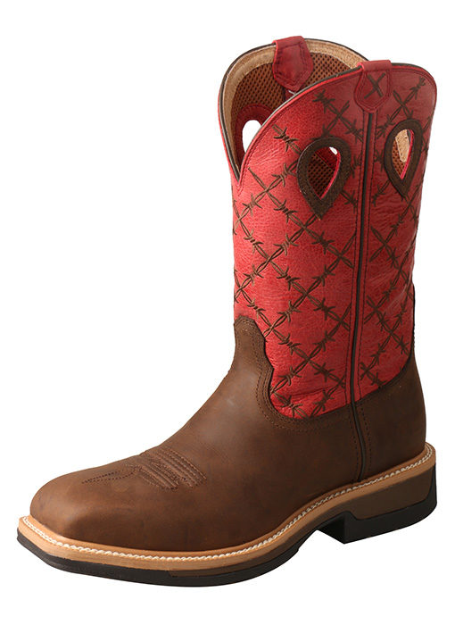 Men's Lite Cowboy Workboot – Brown/Flash Red – Waterproof