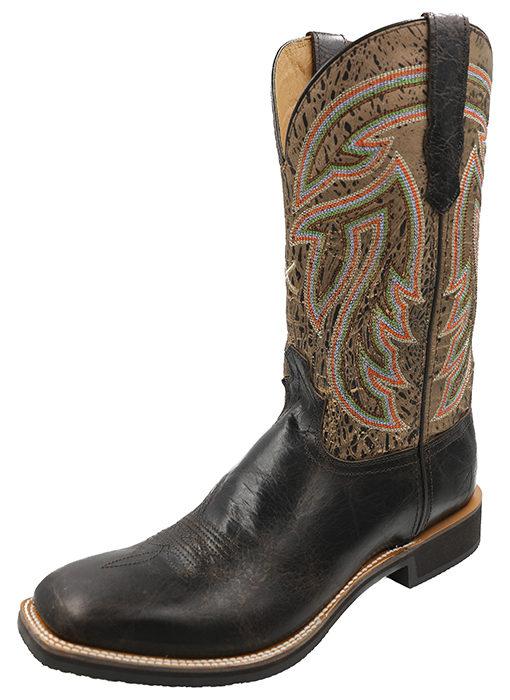 Men's Silver Buckle Rancher WS Toe 123 – Chocolate Shrunken Grain/Brown-Tan