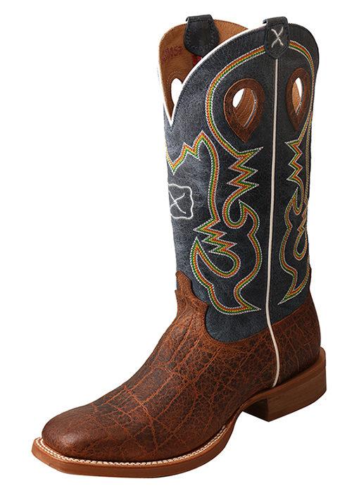 Men's Ruff Stock Boot – Cognac Elephant Print/Blue