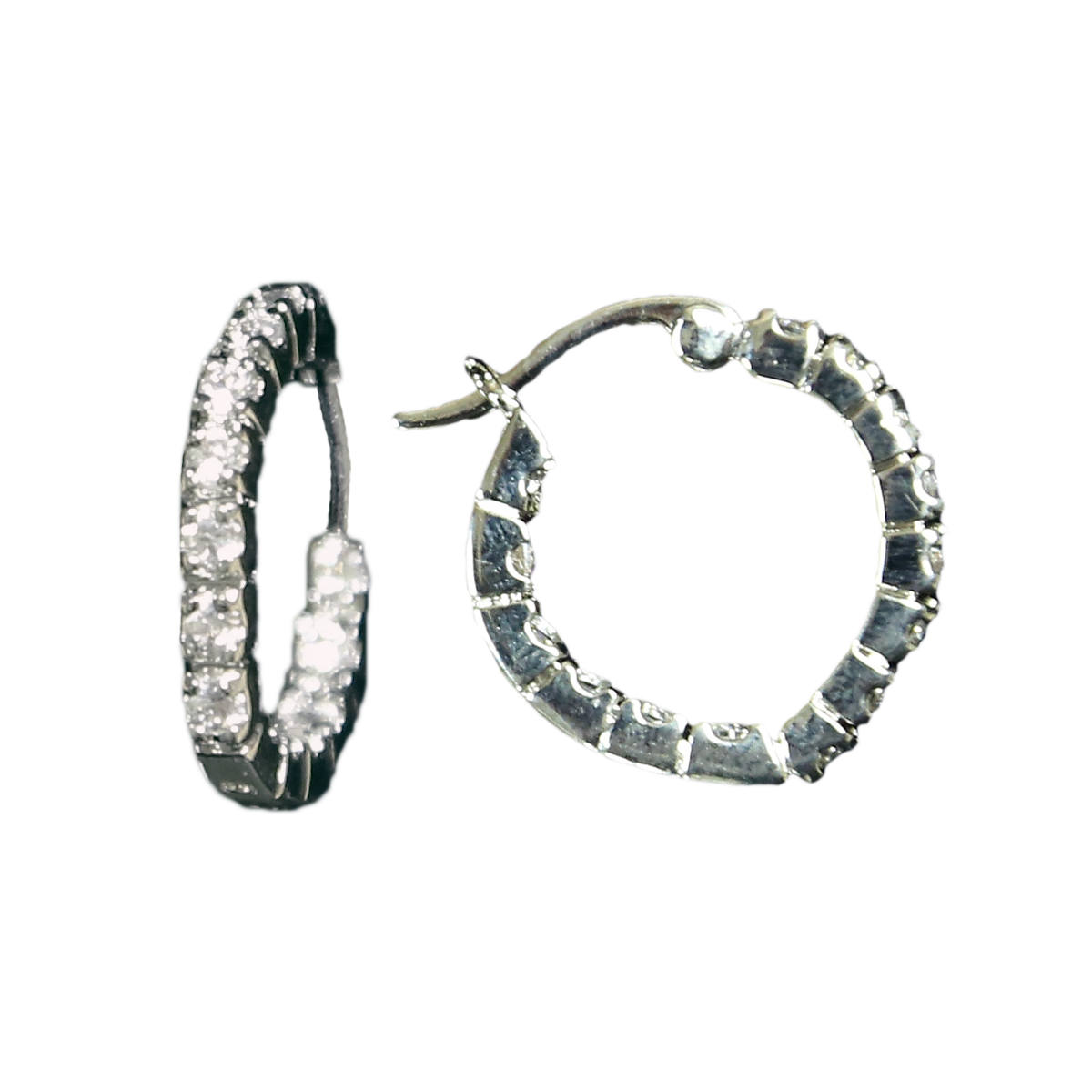 Silver Heart Hoop with Crystal Earrings (ER61504CZ)