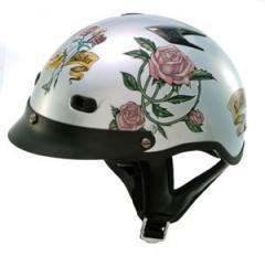 Silver Vented Lady Half Helmet