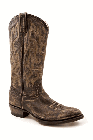 Mens Stetson Black/Grey Distressed Sanded Boot
