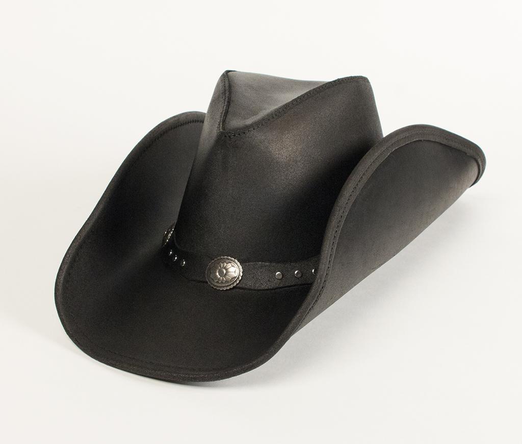 Minnetonka Silverton Dude Hat Black Ruff Leather