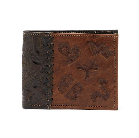 American West Mens Chocolate/Antique Brown Bi-Fold Leather Wallet