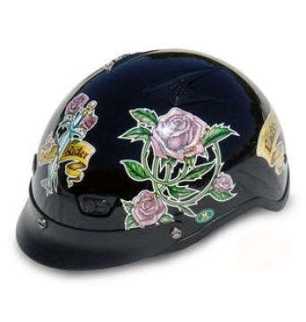 Black Vented Lady Half Helmet