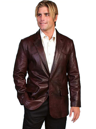 Black Cherry Leather Blazer