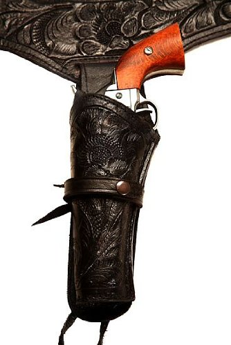 22 Caliber Black LEFT Handed Western/Cowboy Action Style Leather Gun Holster and Belt