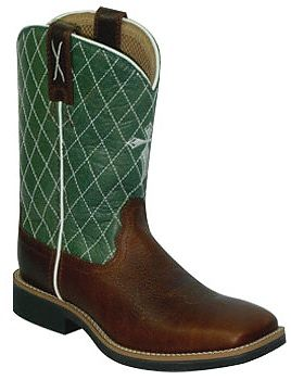 Youth Twisted X Lime & Pebble Pull-On Cowboy Boots